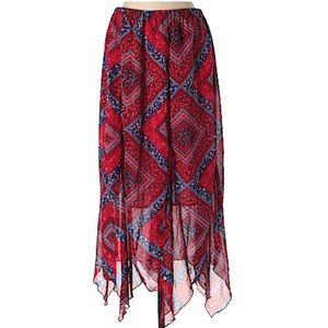 Indigo Soul Plus Size Patchwork Print Midi Skirt